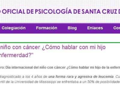 Artículo para el Colegio de Psicólogos de Tenerife - 17.febrero.2014
