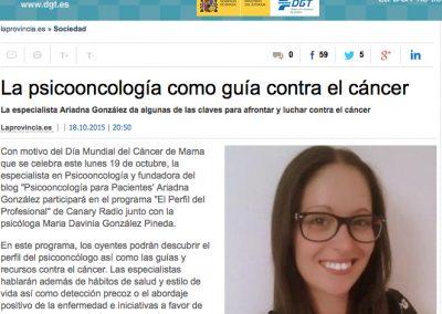 Anuncio en La Provincia por mi intervención en CanaryRadio por el #DíaMundialContraElCáncerDeMama - 18.oct.2015
