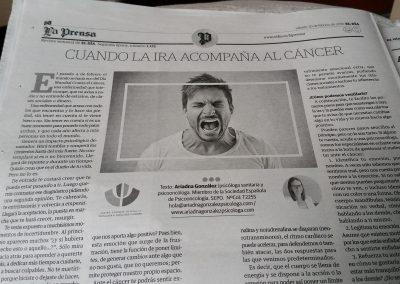 Cuando la ira acompaña la cáncer_Día Mundial Cáncer 2018_Periódco El Día