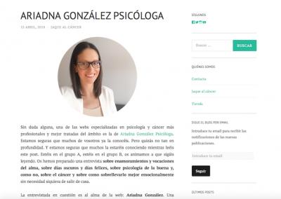 Entrevista Ariadna Gonzalez psicologa_JAque al cancer